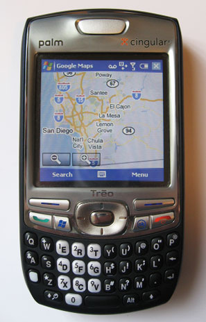 The Windows Mobile 5.0 version of Google Maps for mobile is also GPS-enabled