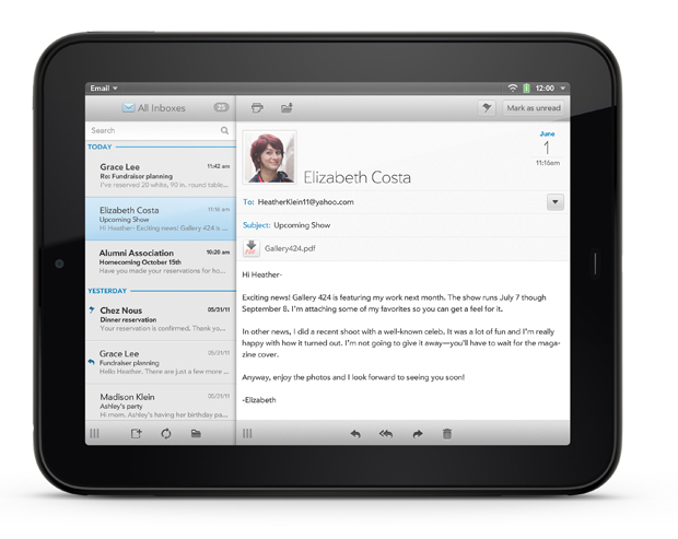 HP TouchPad Review Email App