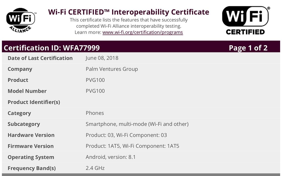 Palm PVG100 FCC Doc