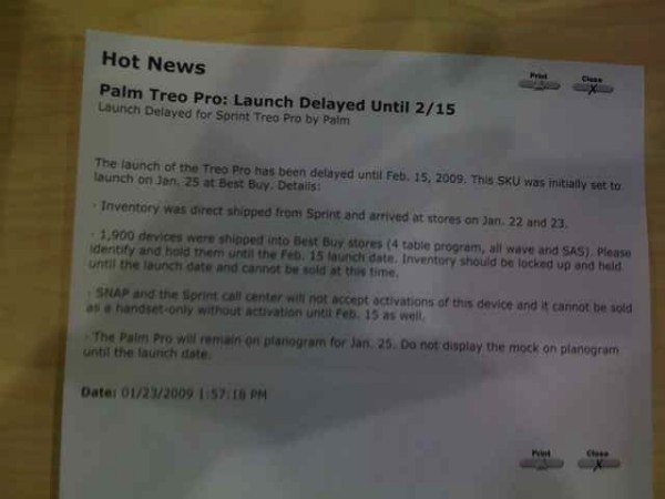Sprint Treo Pro Delayed Note