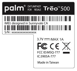 Treo 500 label