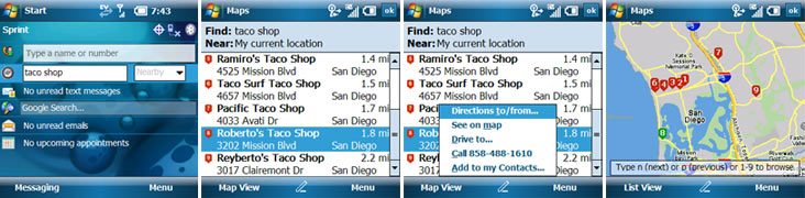Treo 800w GPS Screenshots