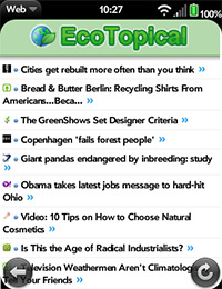 Eco News Green Environmental Headlines webos iphone mobile ecotpoical