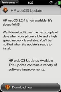 hp pre 2 webos update