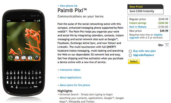 Sprint Palm Pixi Sale Price