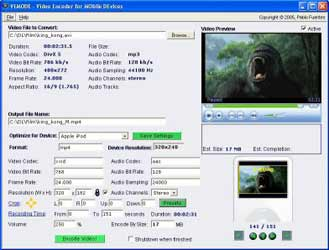 VEMoDe Free Mobile Video Encoder for Palm, iPod, PSP